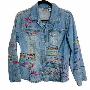Chico's embroidered denim jacket size 1 medium